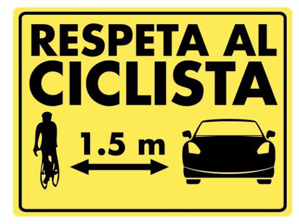 respeta al ciclista 1,5 mts.