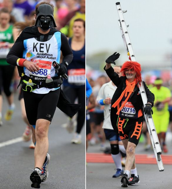 A-runner-at-the-start-of-the-2015-London-Marathon-dressed-in-fancy-dress